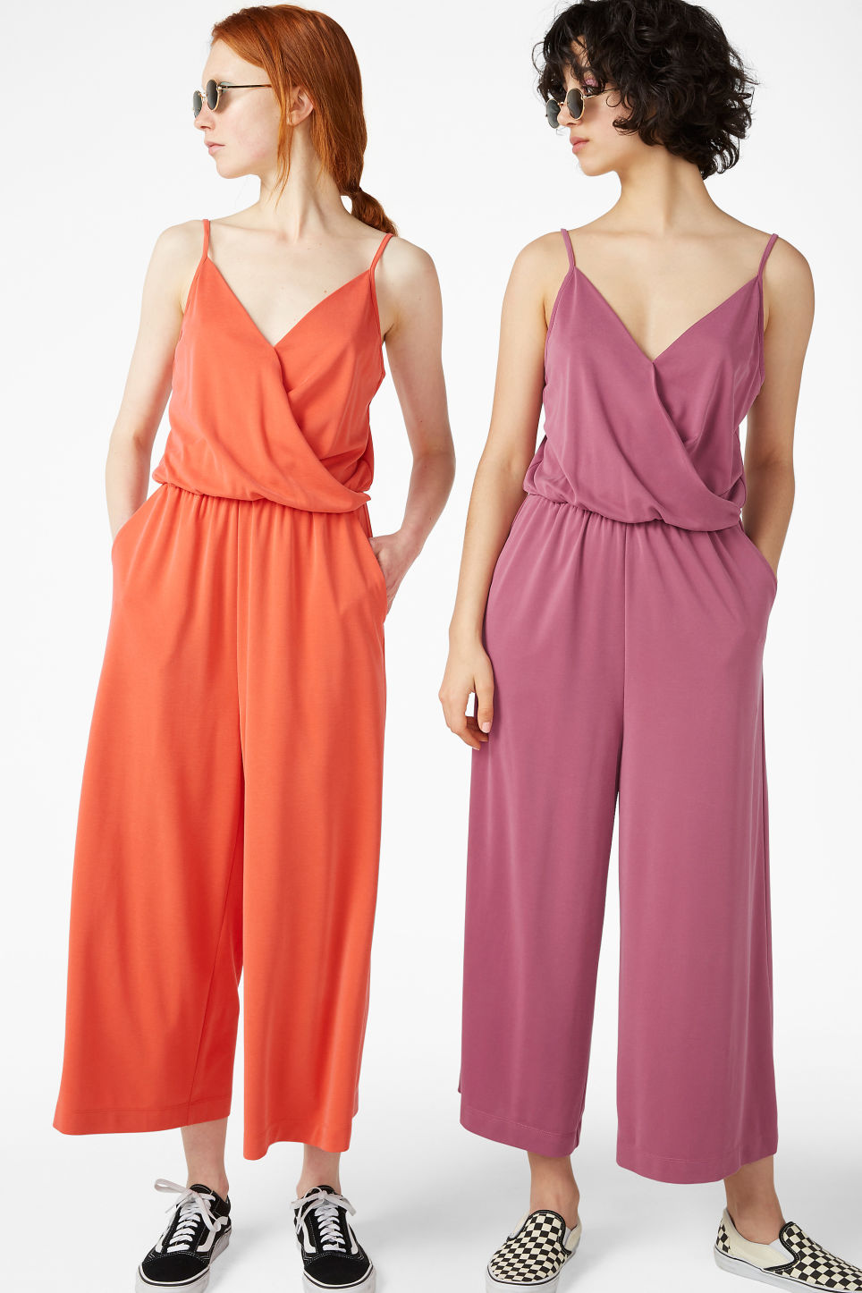 Model front image of Monki super-soft wrap jumpsuit in orange