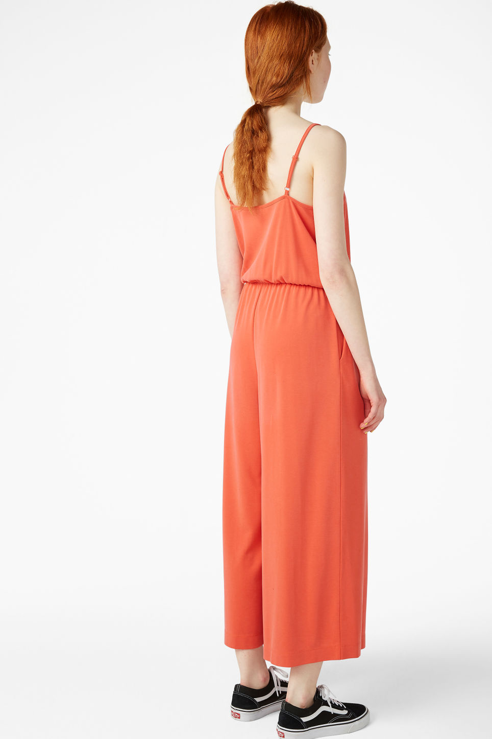 Model back image of Monki super-soft wrap jumpsuit in orange