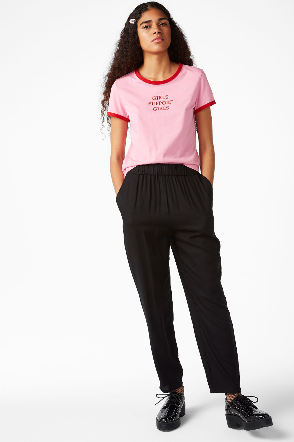 Model front image of Monki tapered trousers in black