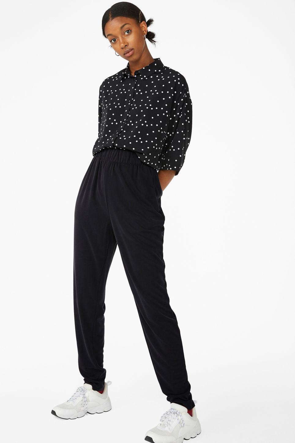 Model front image of Monki super-soft lounge pants in black
