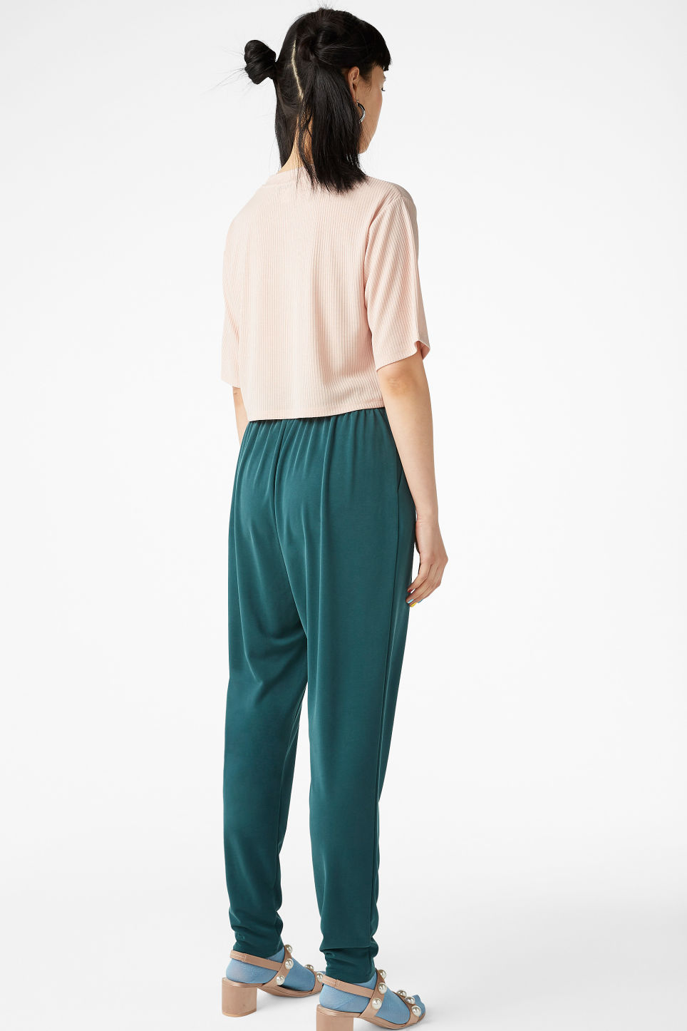 Model back image of Monki super-soft lounge pants in green