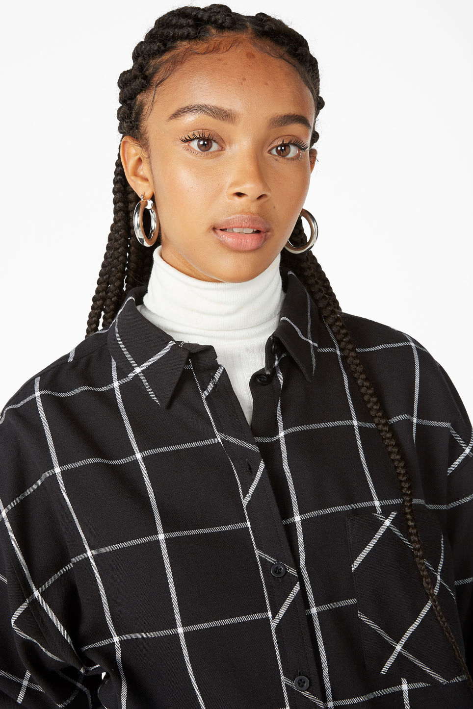 Model front image of Monki classic cotton shirt in black