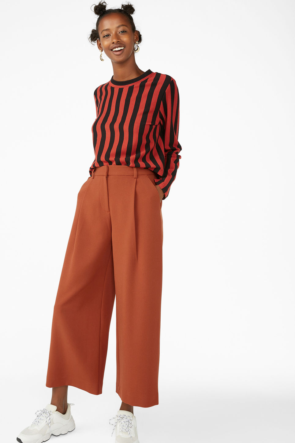 Model front image of Monki wide leg trousers in orange