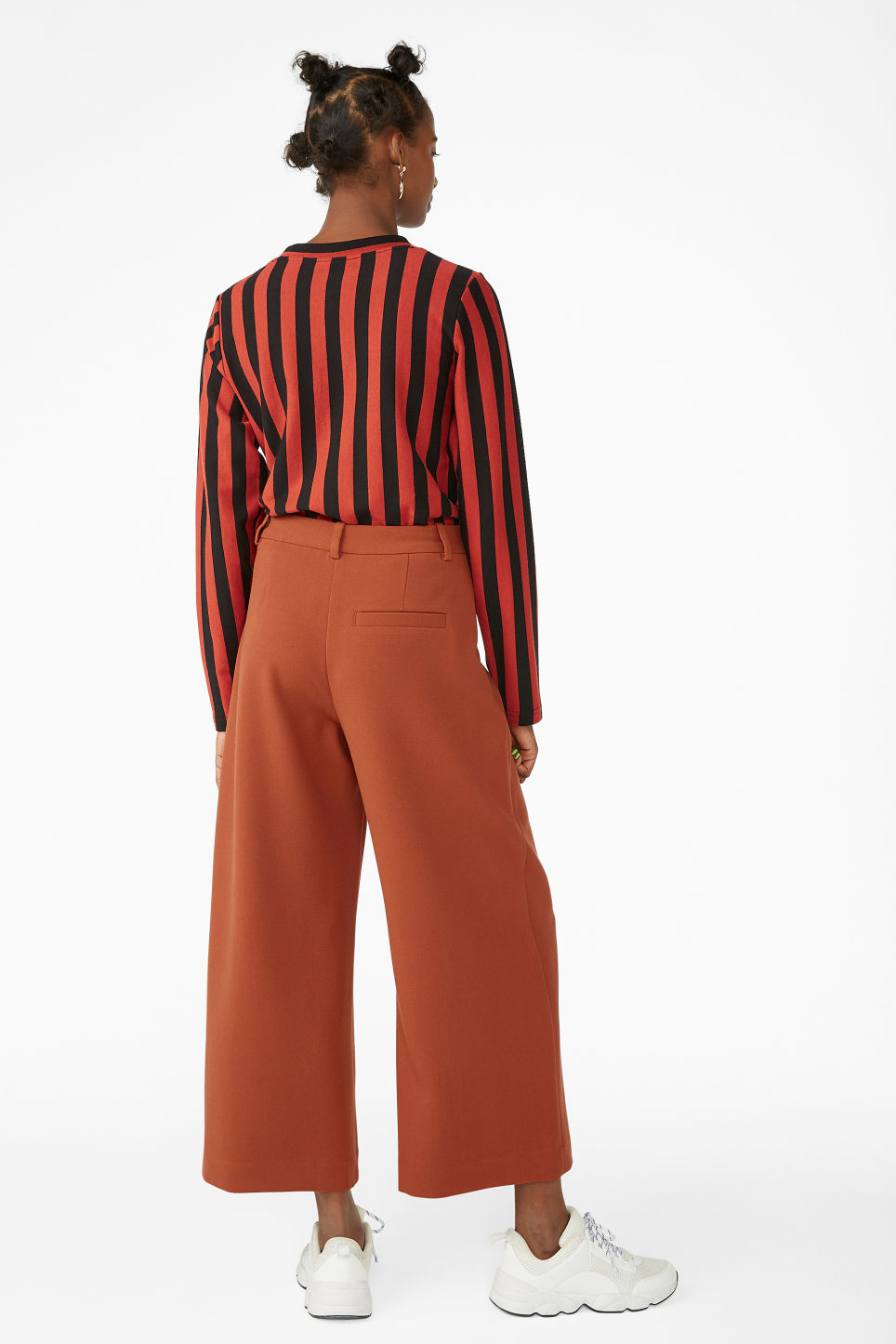 Model back image of Monki wide leg trousers in orange