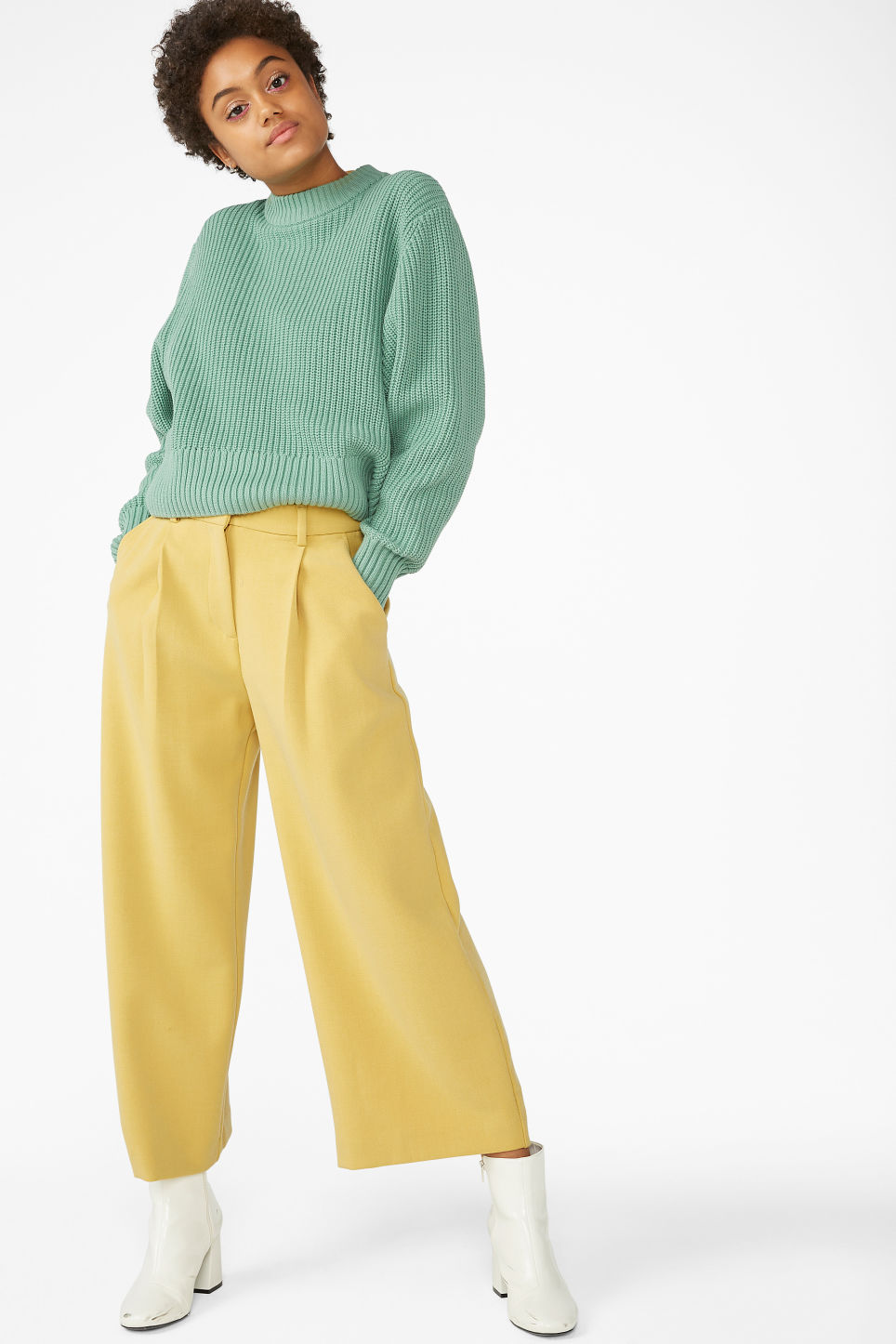Model front image of Monki wide leg trousers in yellow