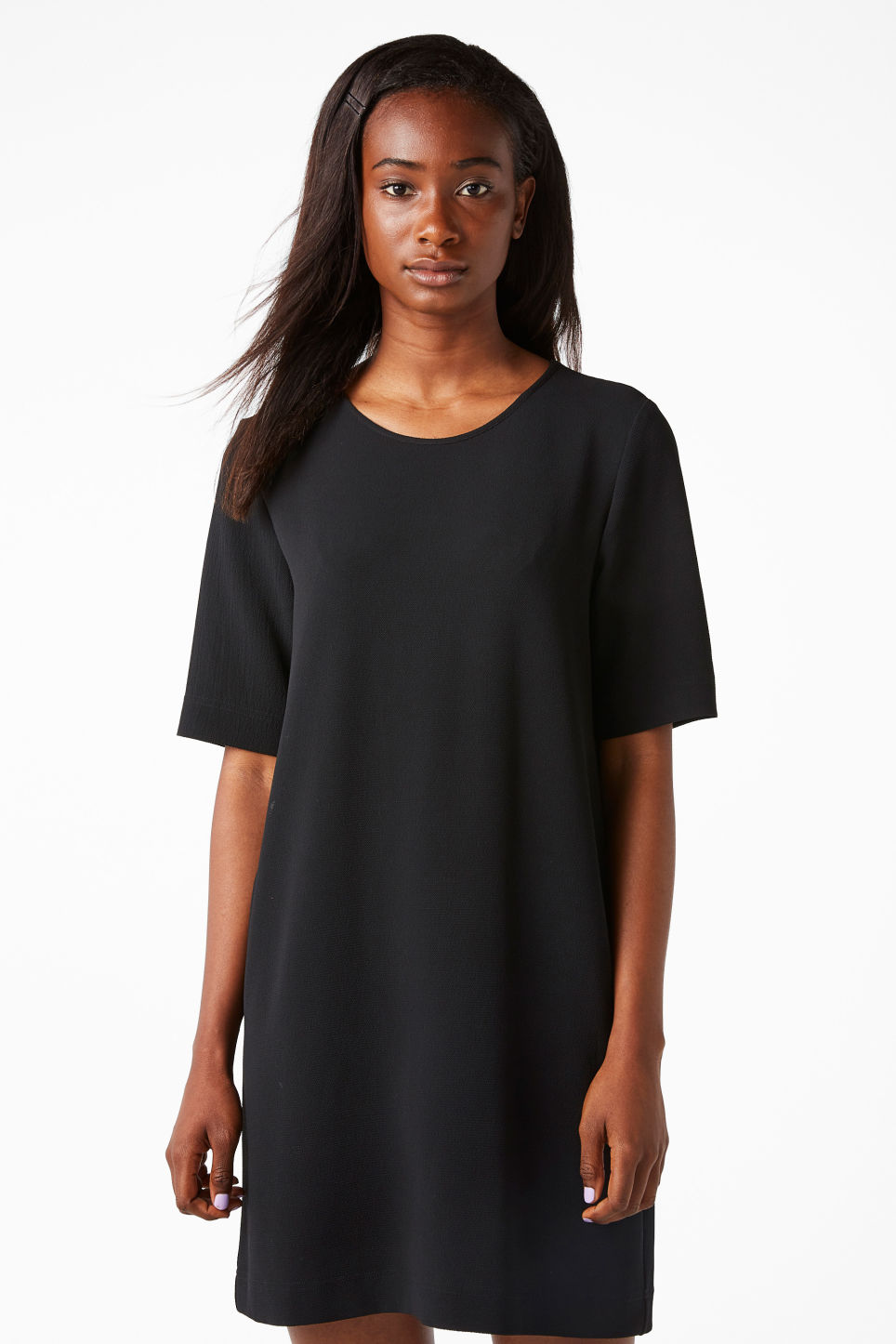Model front image of Monki classic stretch dress in black