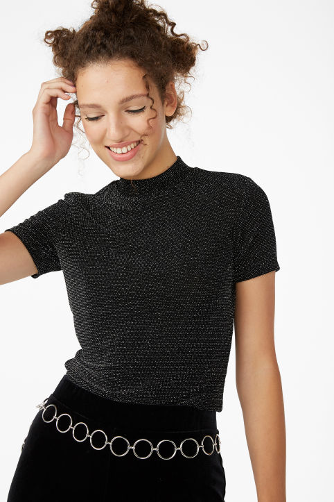 Glittery turtleneck top