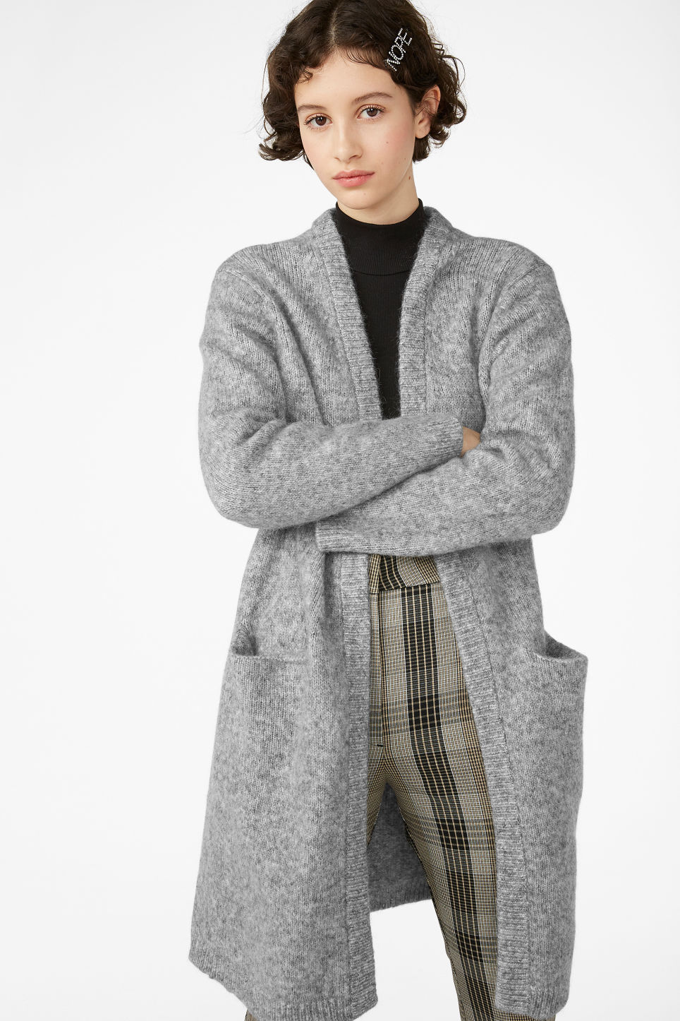 Model front image of Monki long cosy cardigan in grey