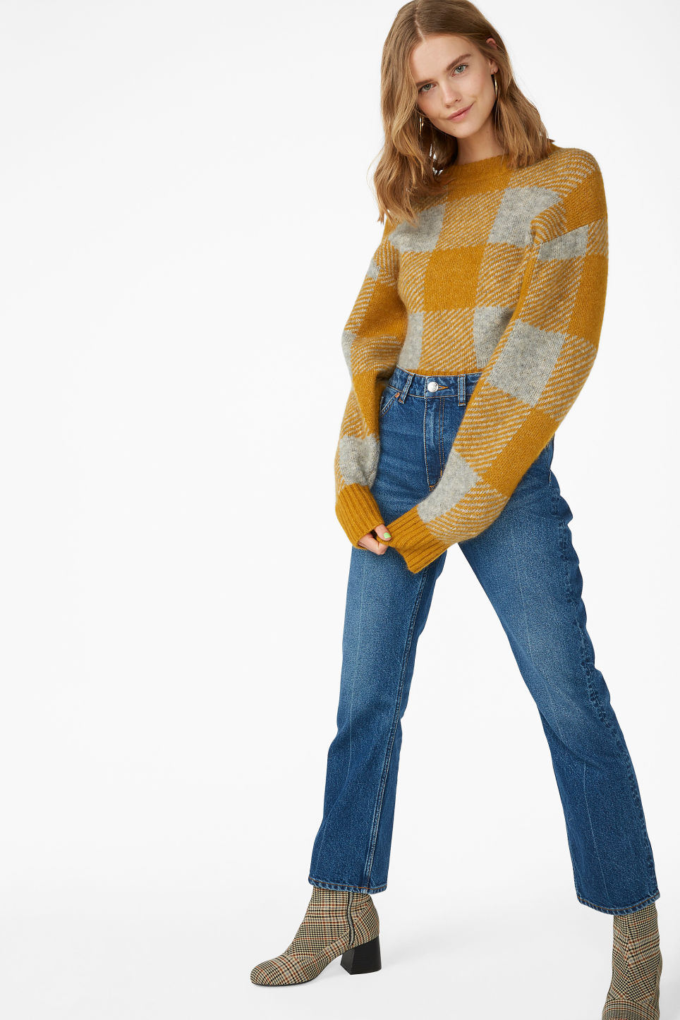 Model front image of Monki puffed sleeve sweater in yellow