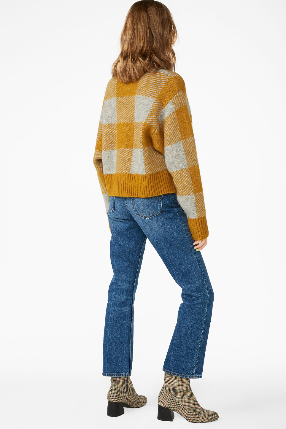 Model back image of Monki puffed sleeve sweater in yellow