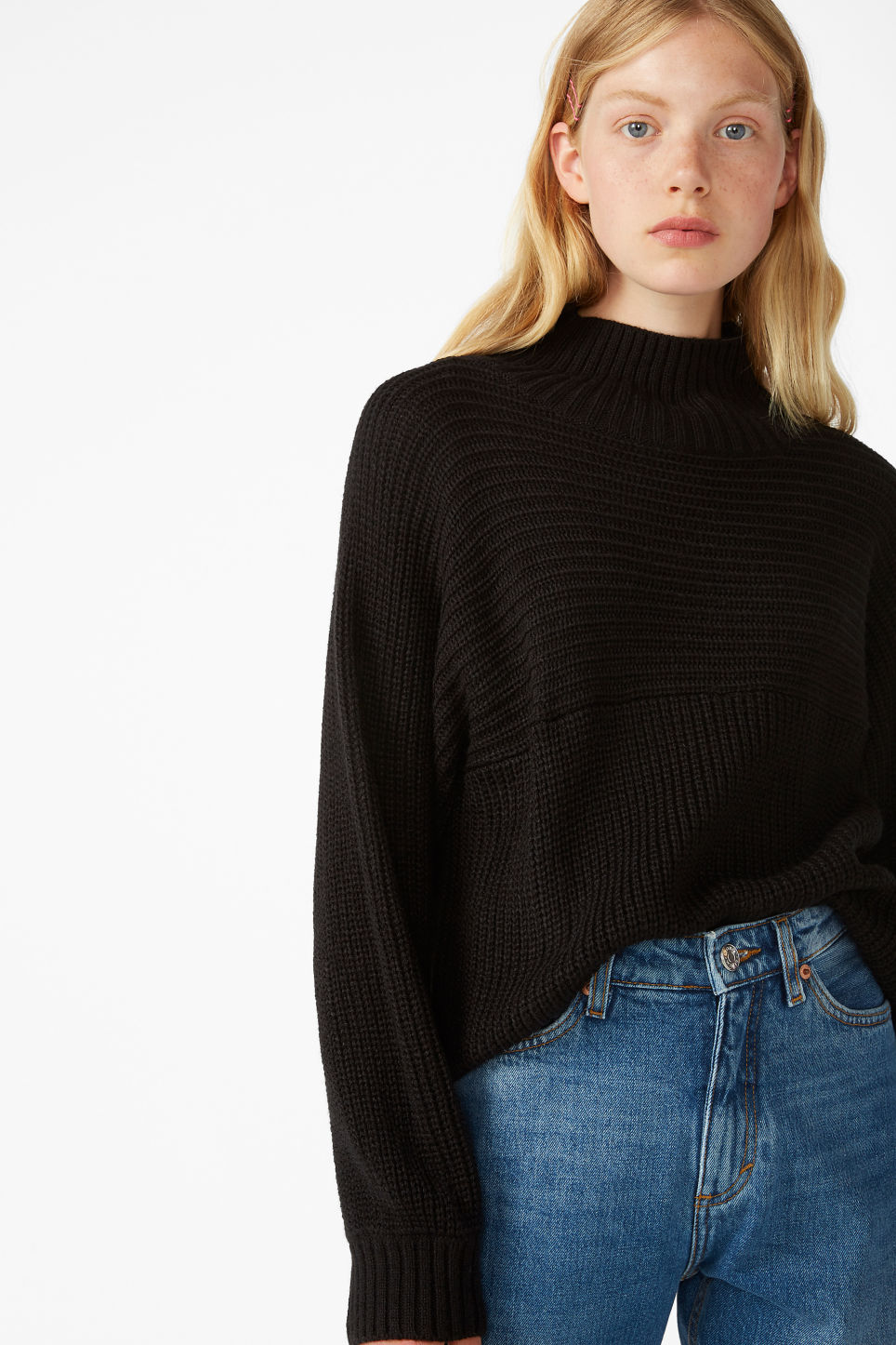 Model front image of Monki knit sweater in black
