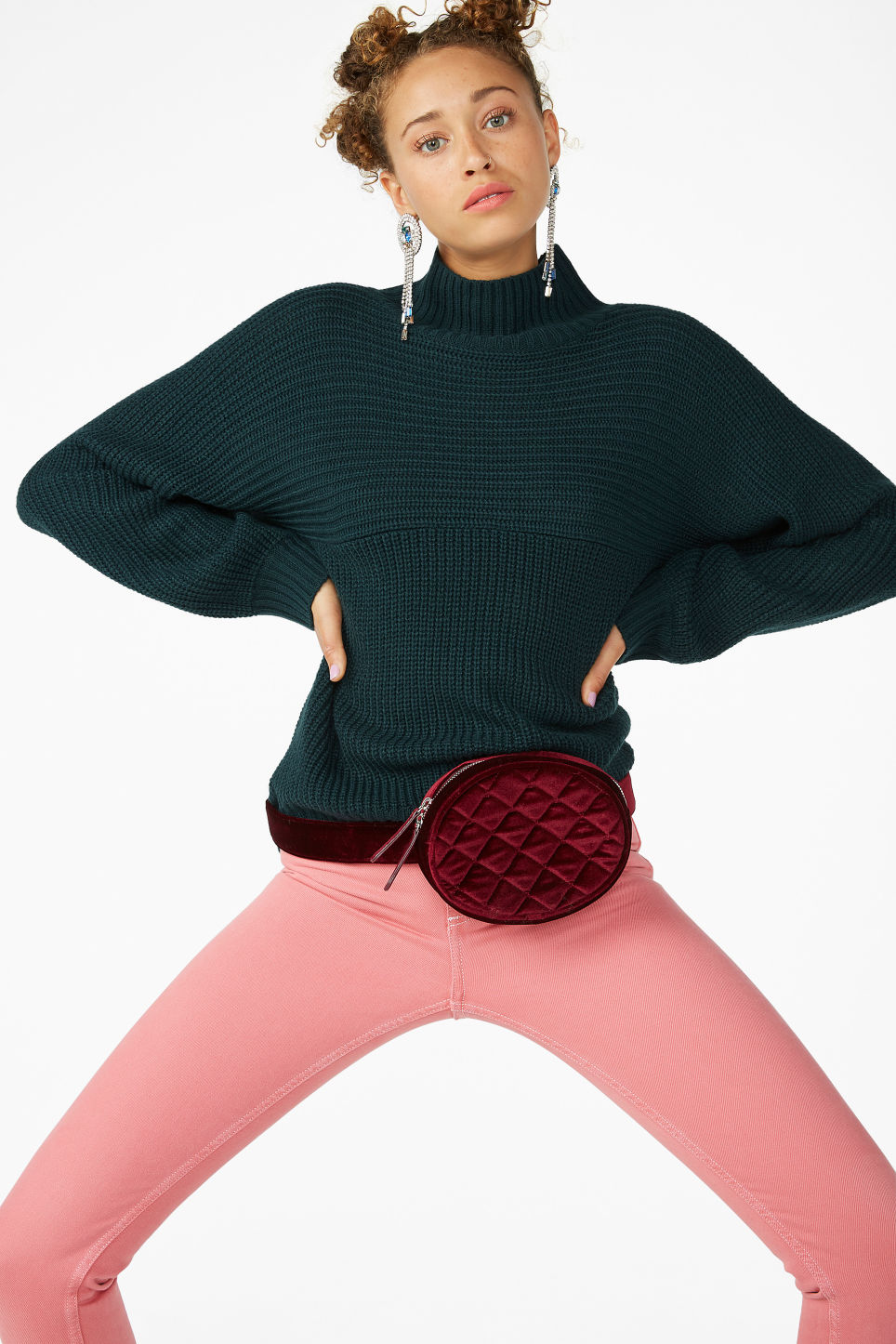 Model front image of Monki chunky knit sweater in green