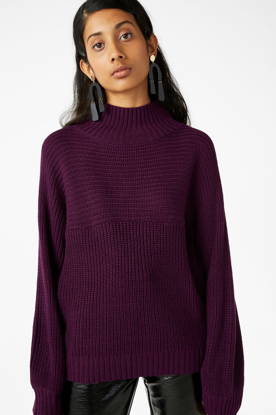 Model front image of Monki knit sweater in purple