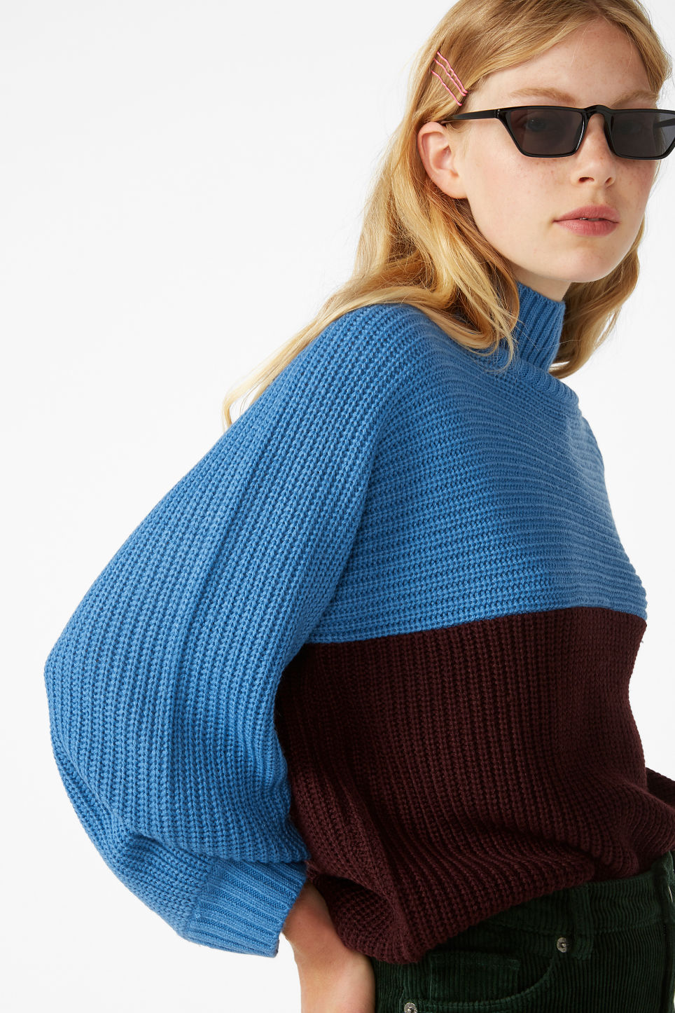 Model front image of Monki knit sweater in blue