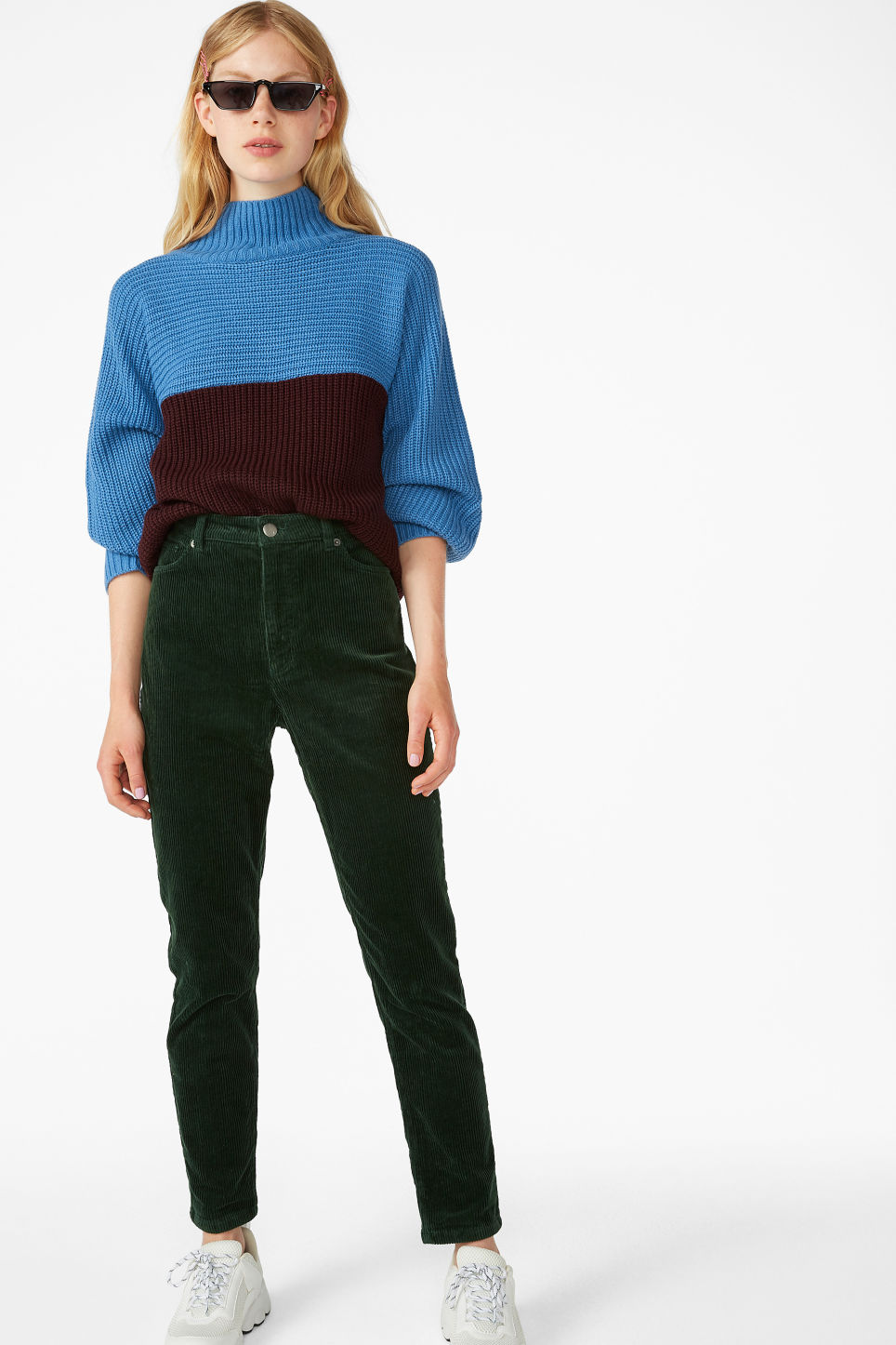 Model side image of Monki knit sweater in blue