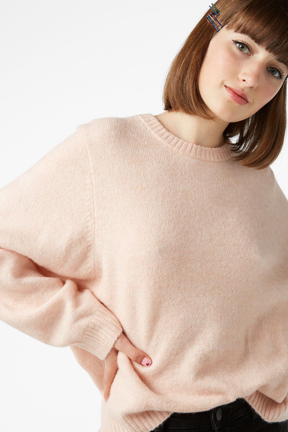 Model front image of Monki batwing sweater in orange
