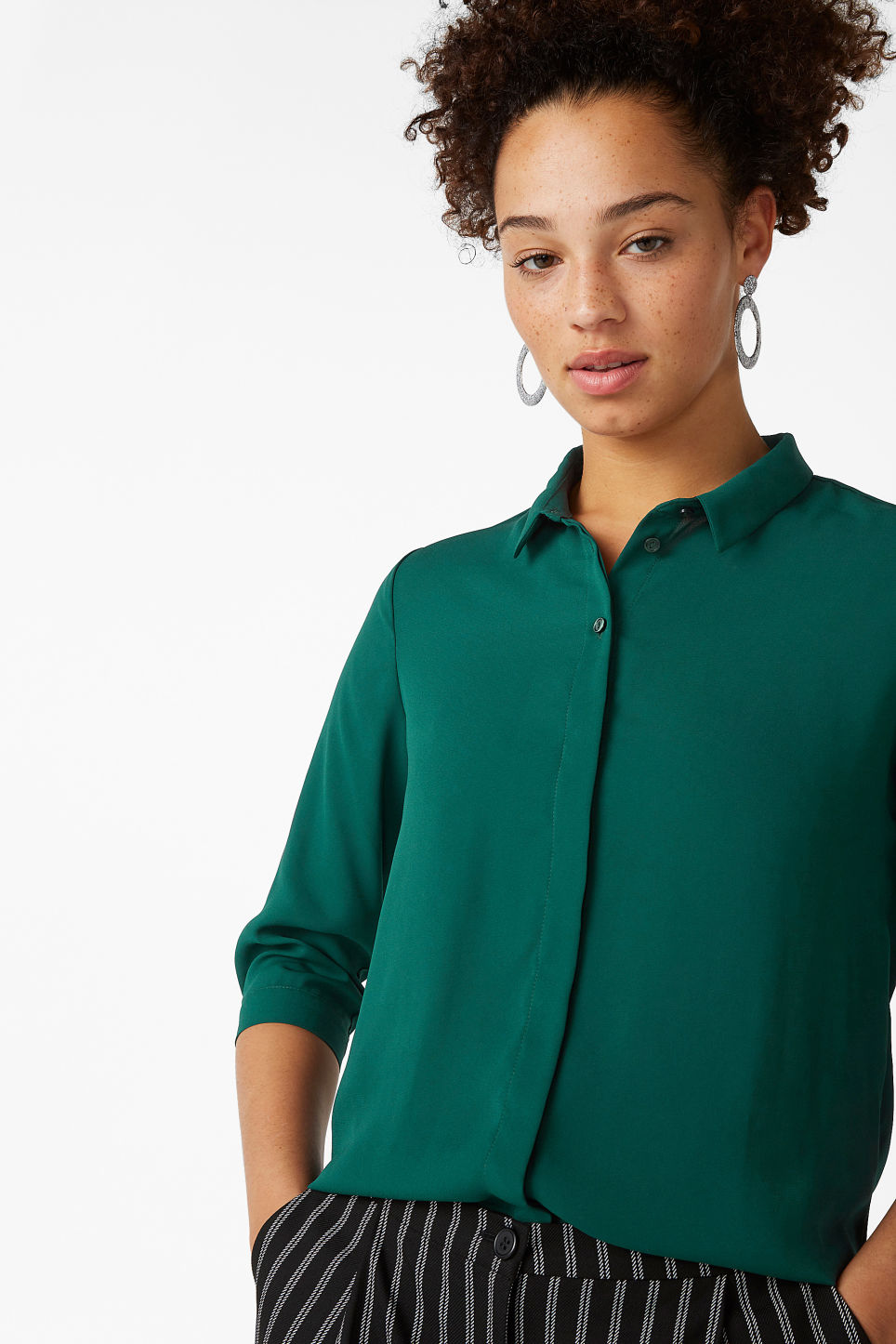 Model front image of Monki button up blouse in green
