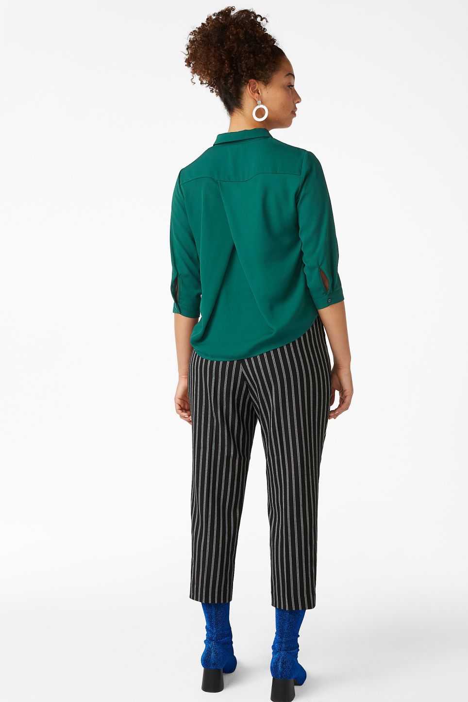 Model back image of Monki button up blouse in green