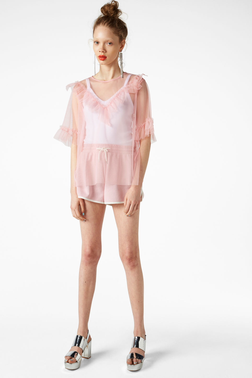 Model front image of Monki mesh ruffle top in pink