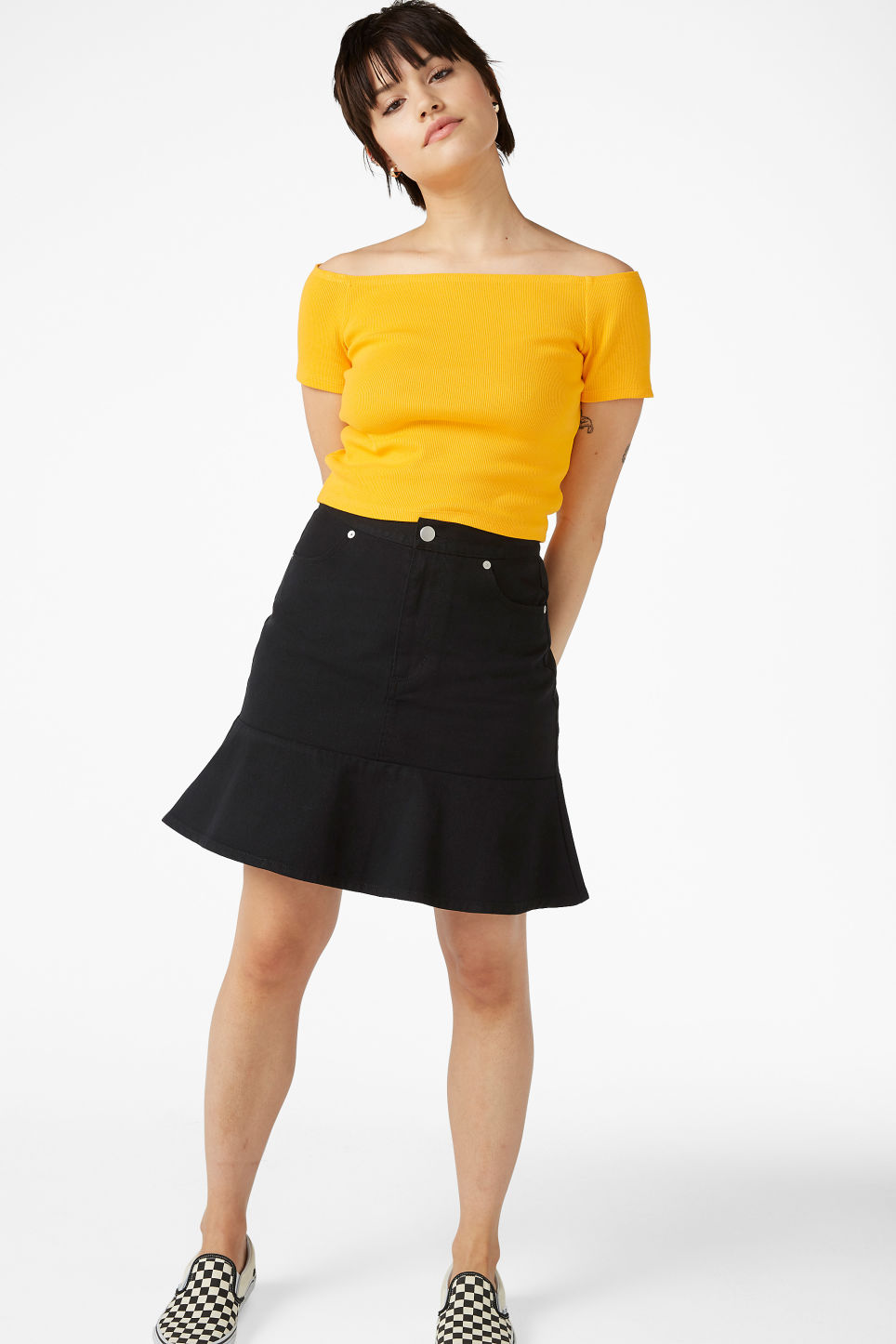 Model front image of Monki off shoulder top in yellow