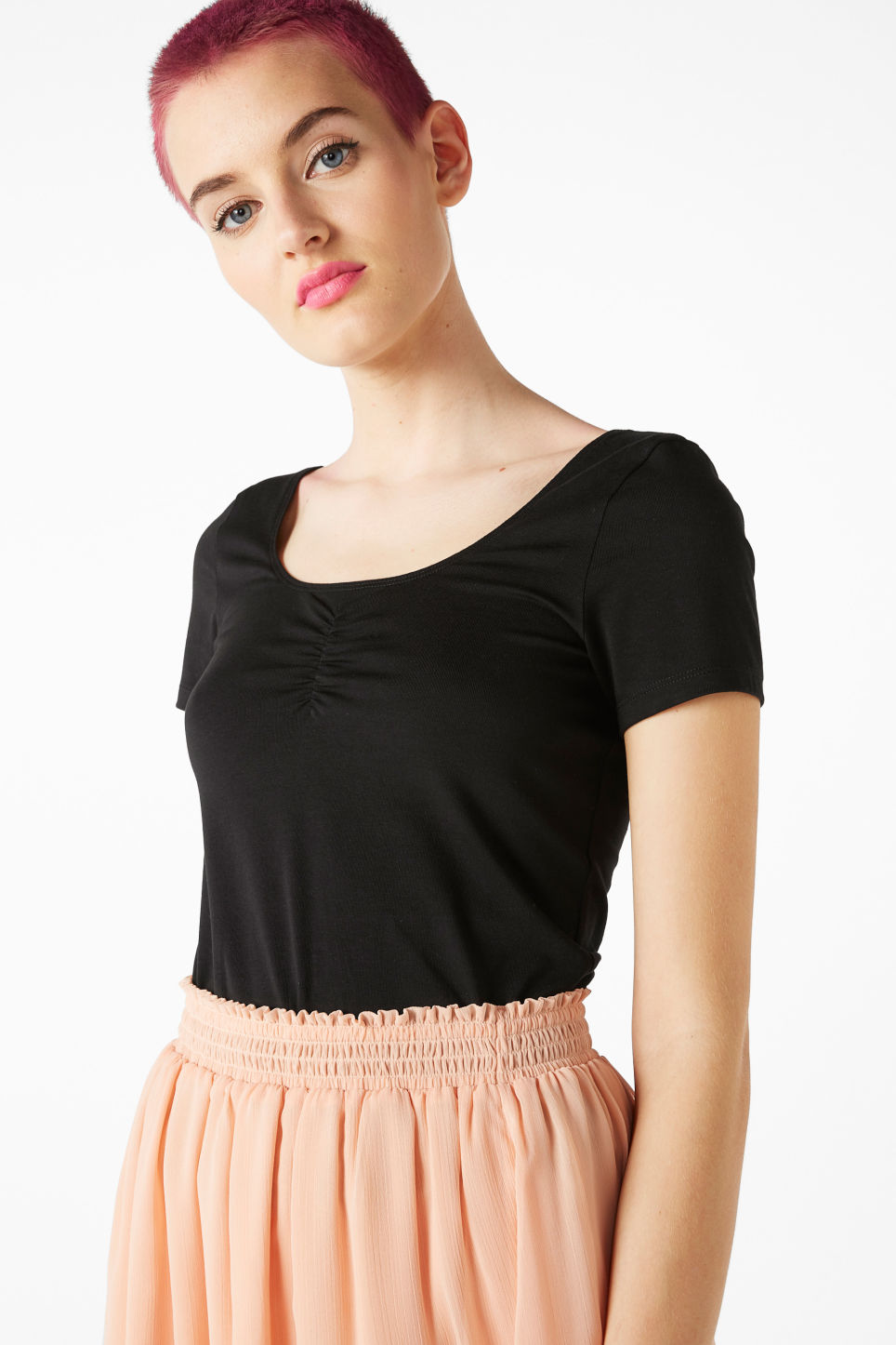 Model front image of Monki scoop neck top in black