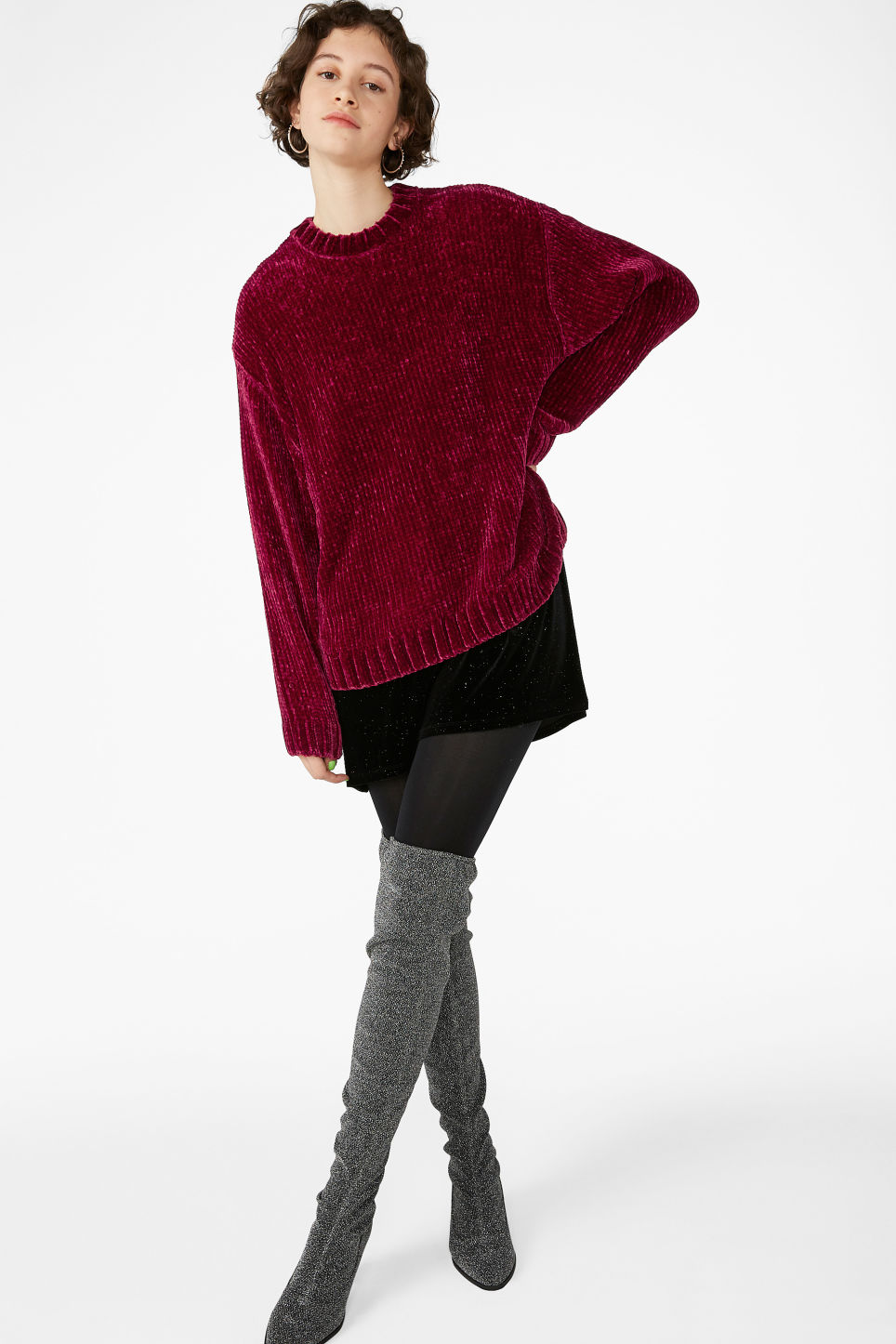 Model front image of Monki velvety knit sweater in pink