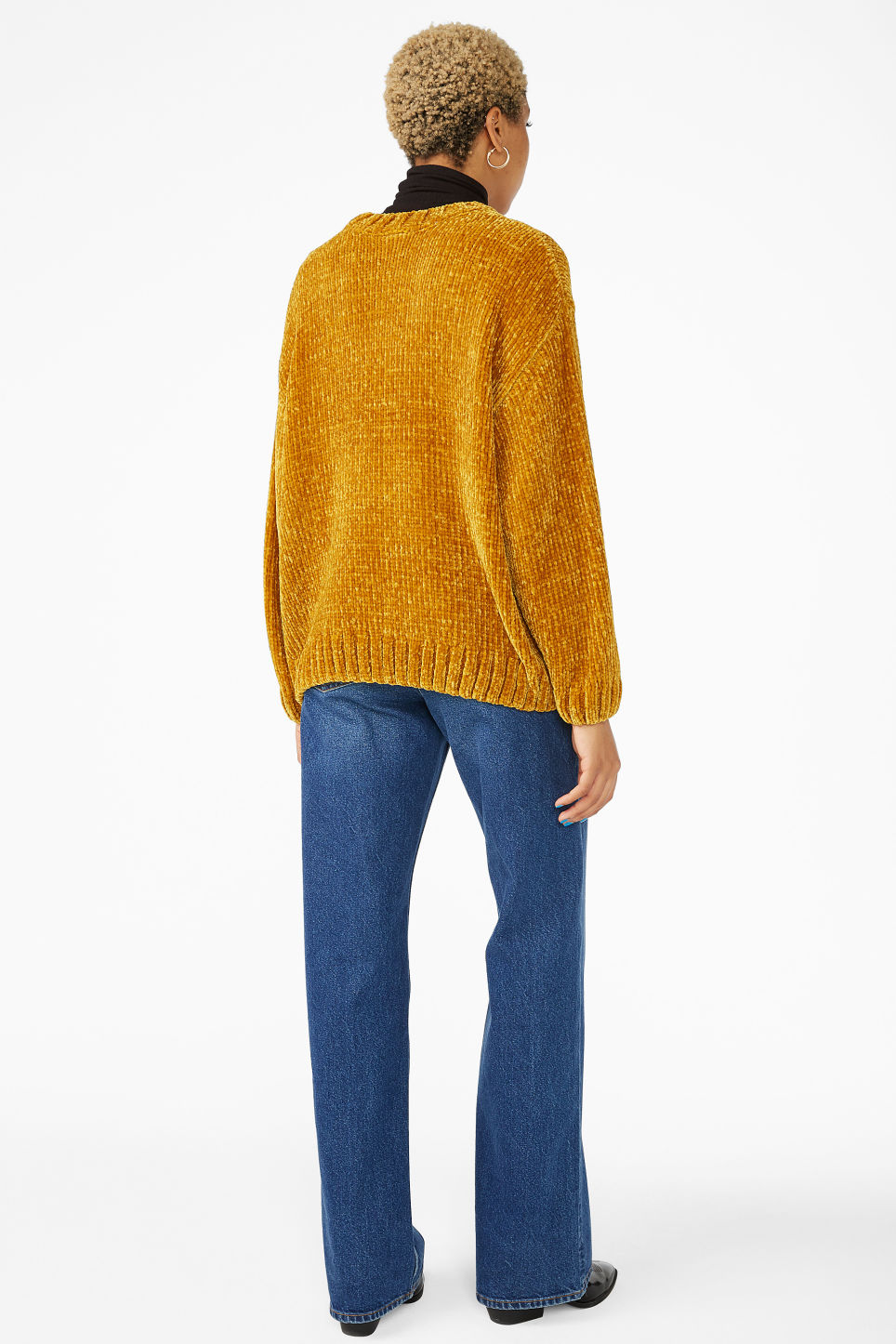 Model back image of Monki velvety knit sweater in yellow