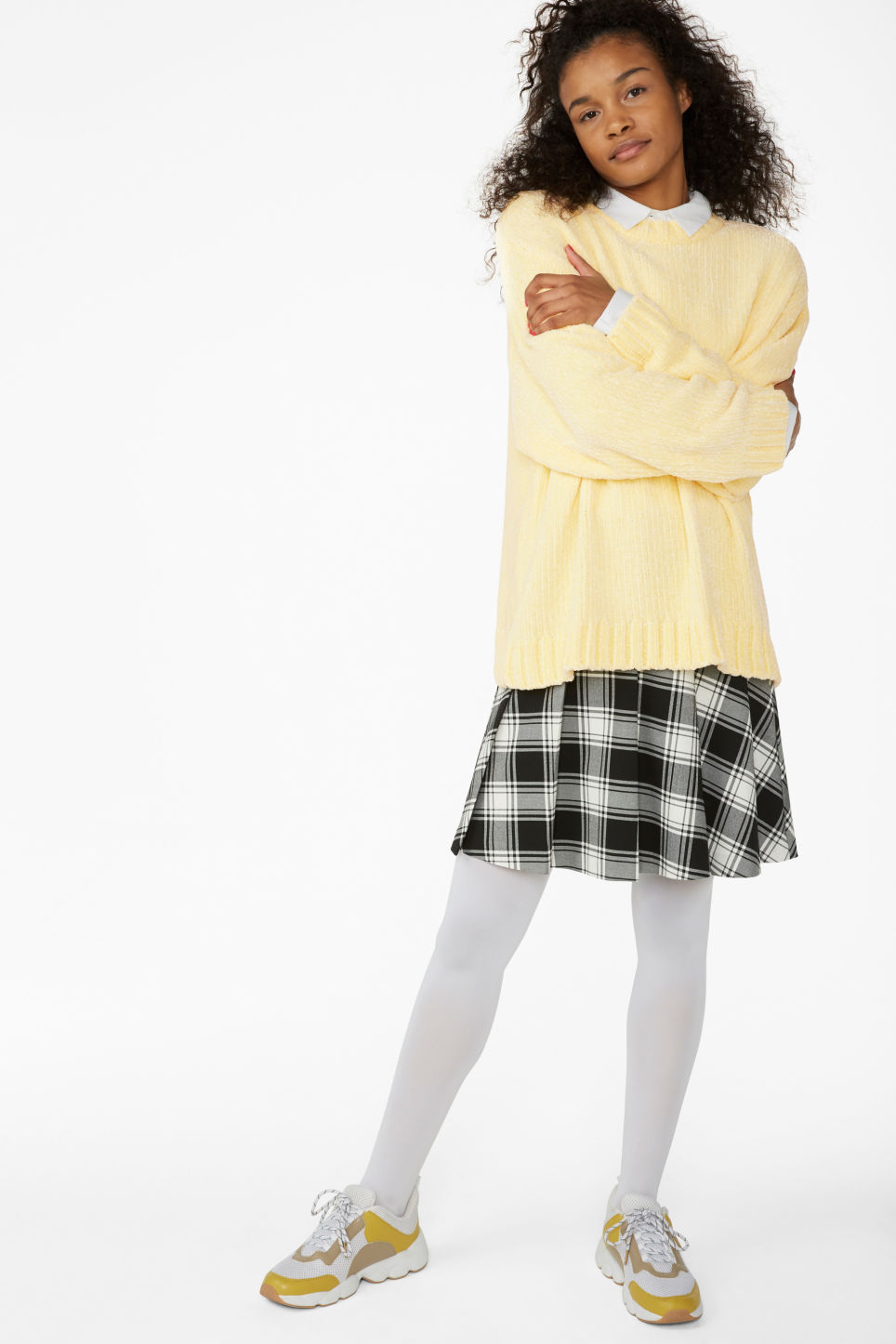 Model side image of Monki velvety knit sweater in yellow