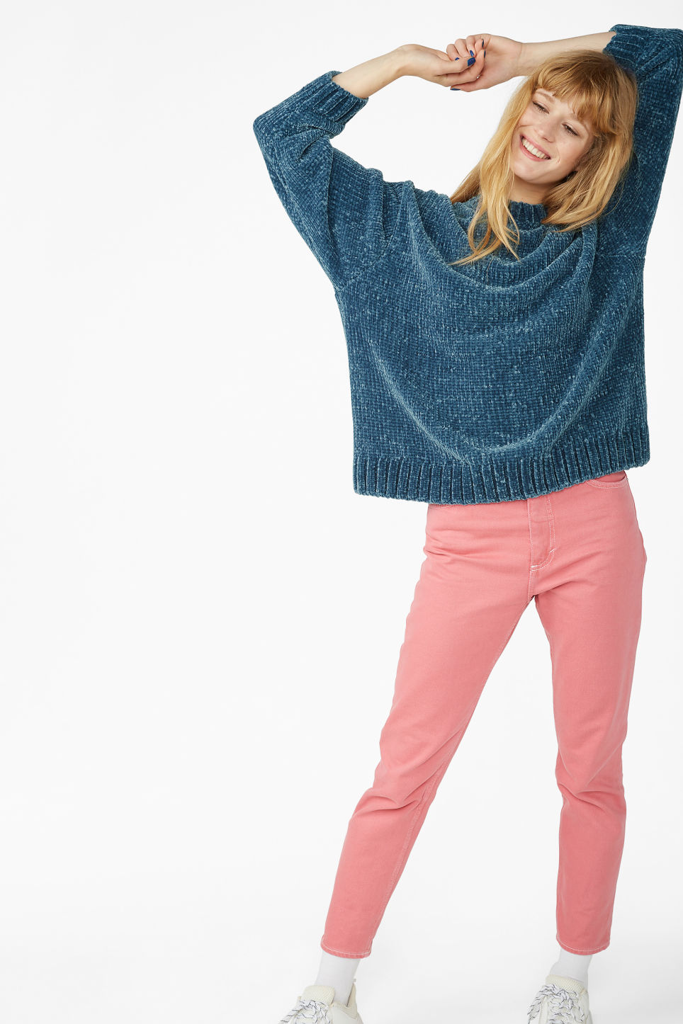 Model side image of Monki velvety knit sweater in blue