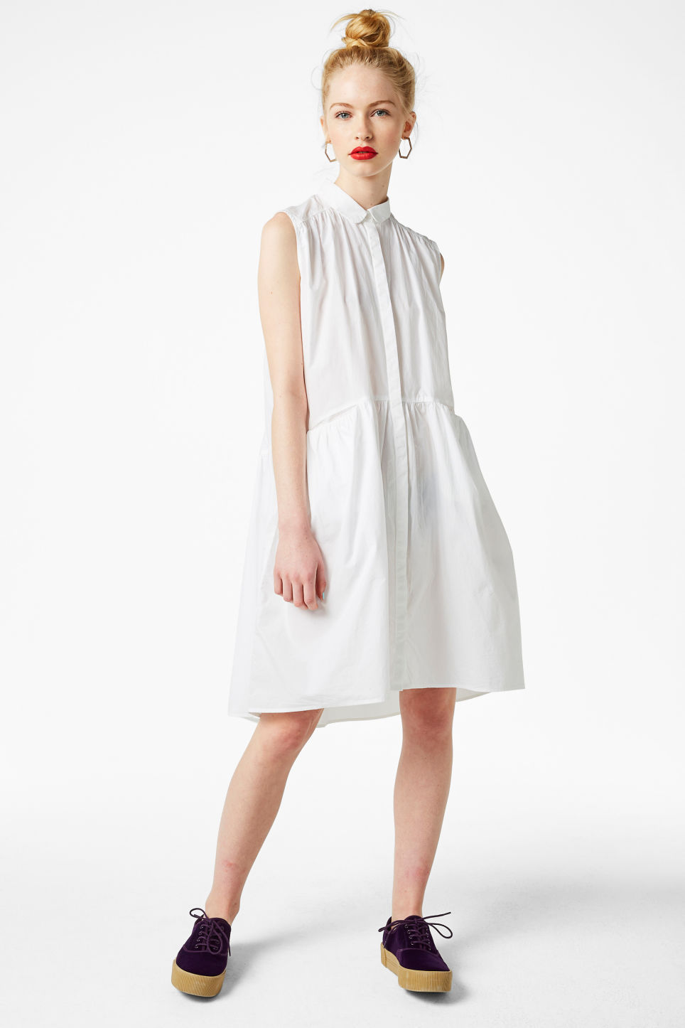 Model front image of Monki sleeveless dress in white