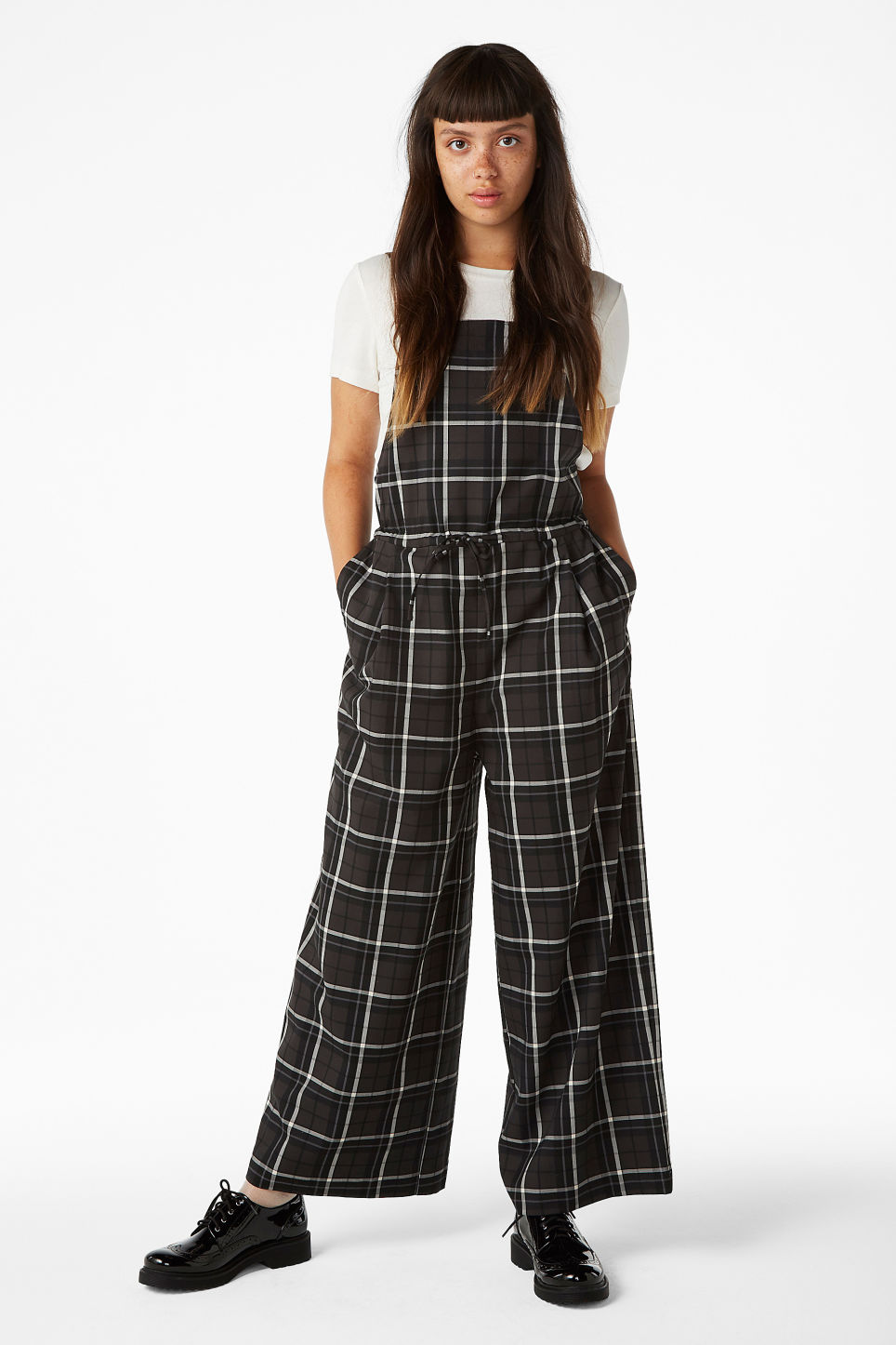 Model front image of Monki wide leg dungarees in grey