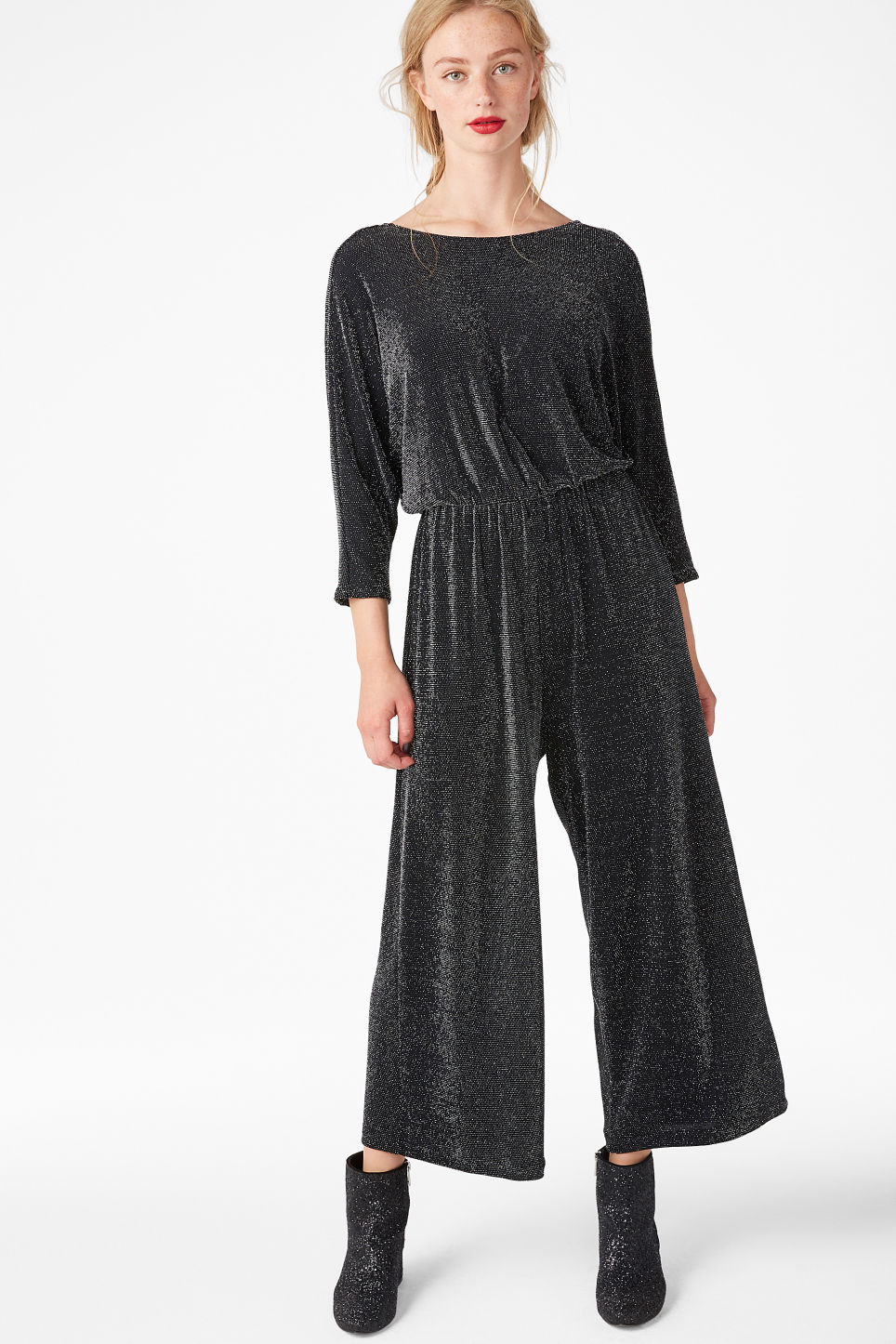 Model front image of Monki fancy jumpsuit in black