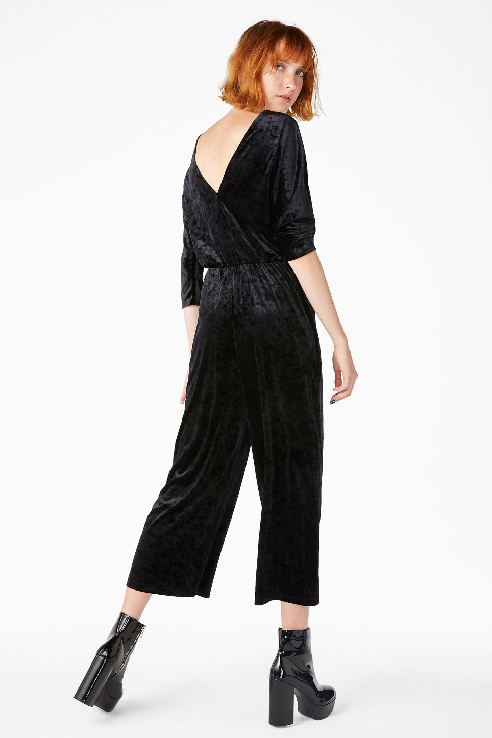 Model back image of Monki fancy jumpsuit in black