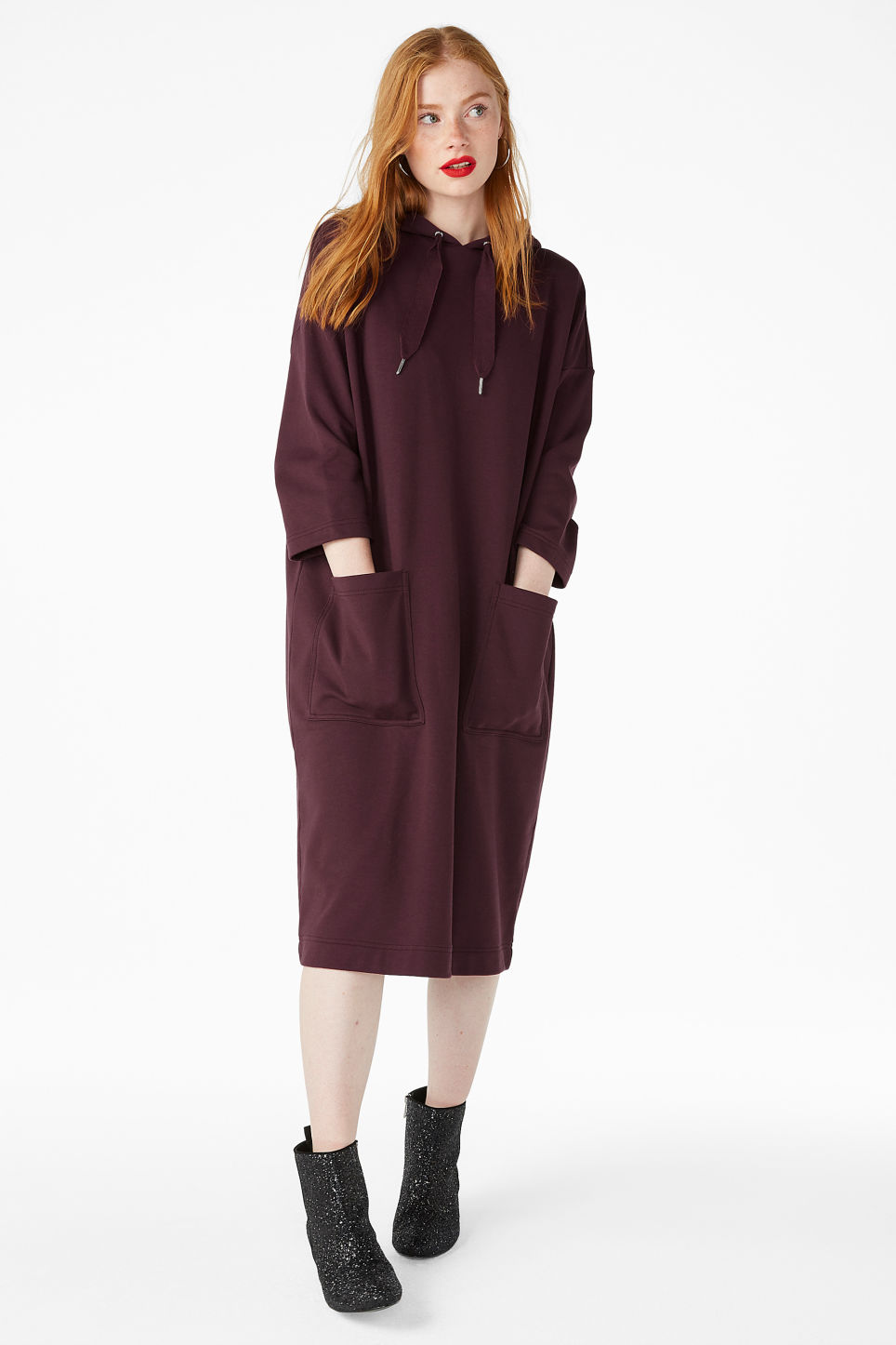 Model front image of Monki oversize hoodie dress in pink