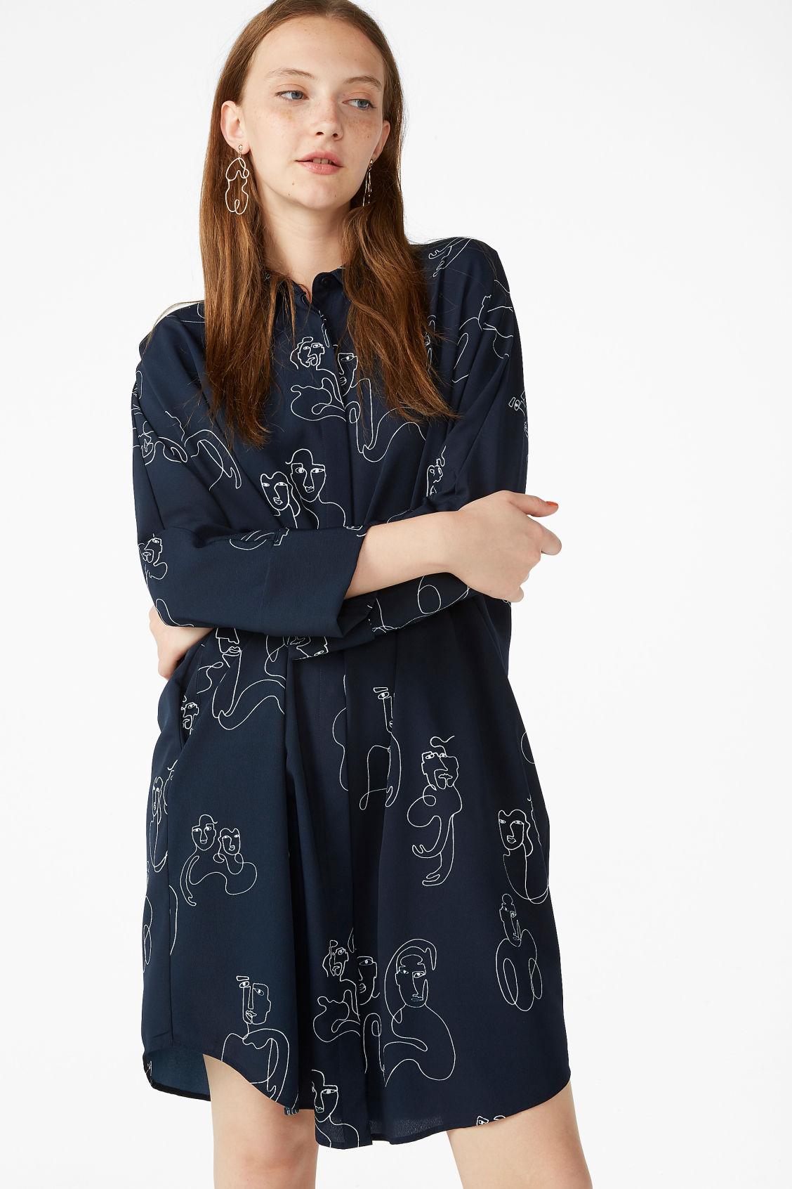 390fdb55b1b Model front image of Monki oversized shirt dress in blue
