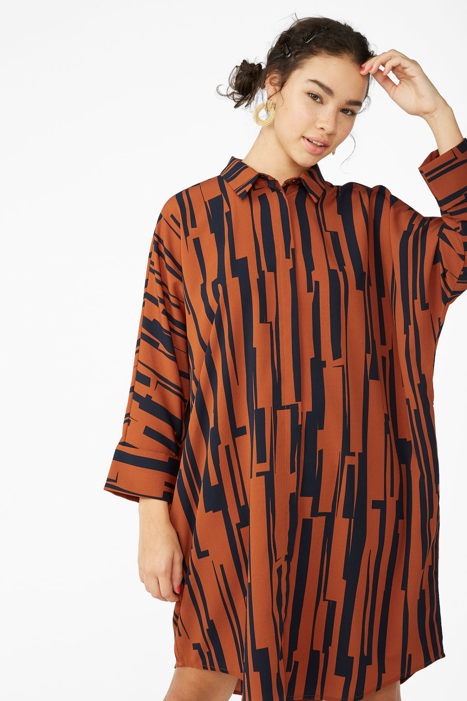 Model front image of Monki oversized shirt dress in orange