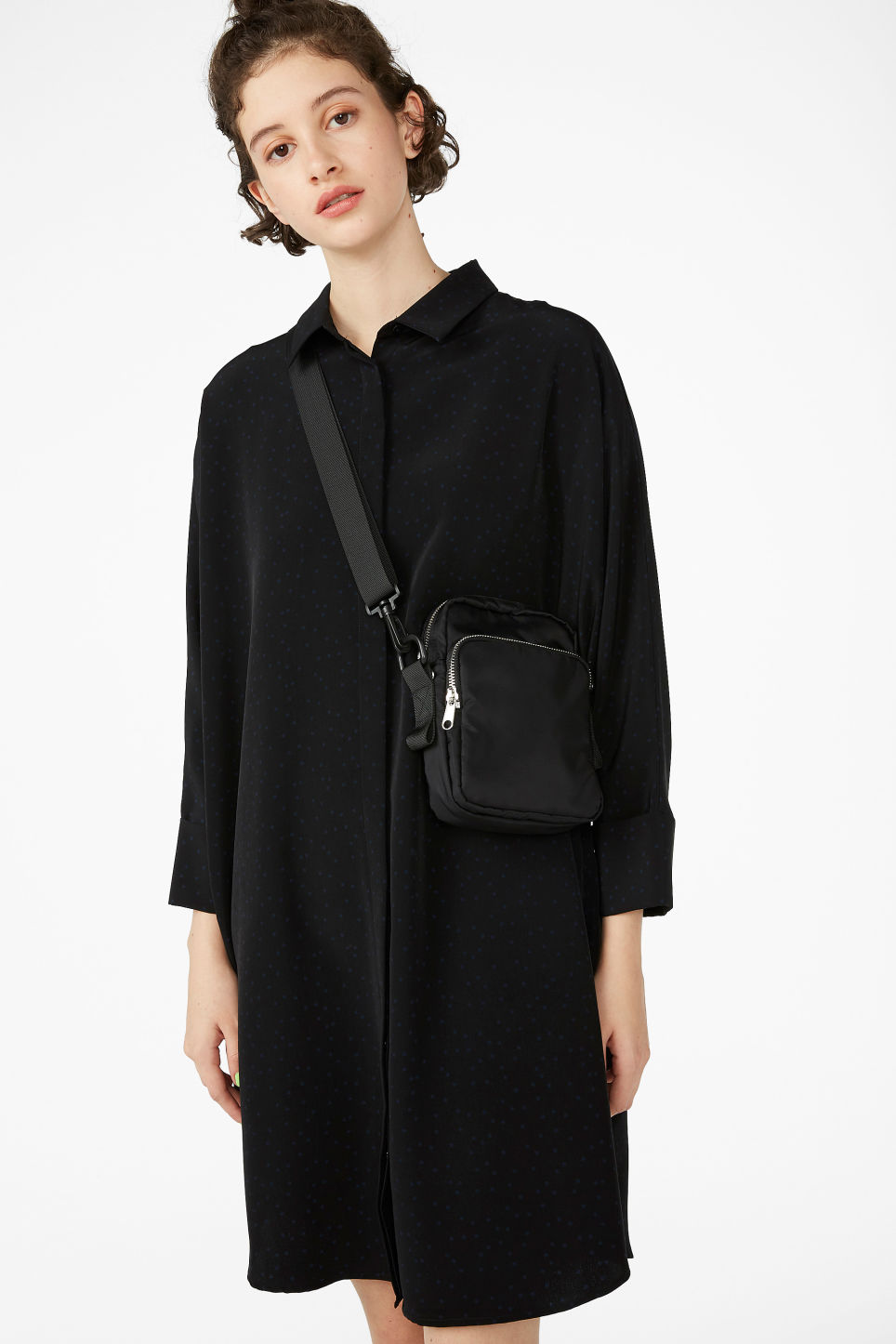 Model front image of Monki oversized shirt dress in black
