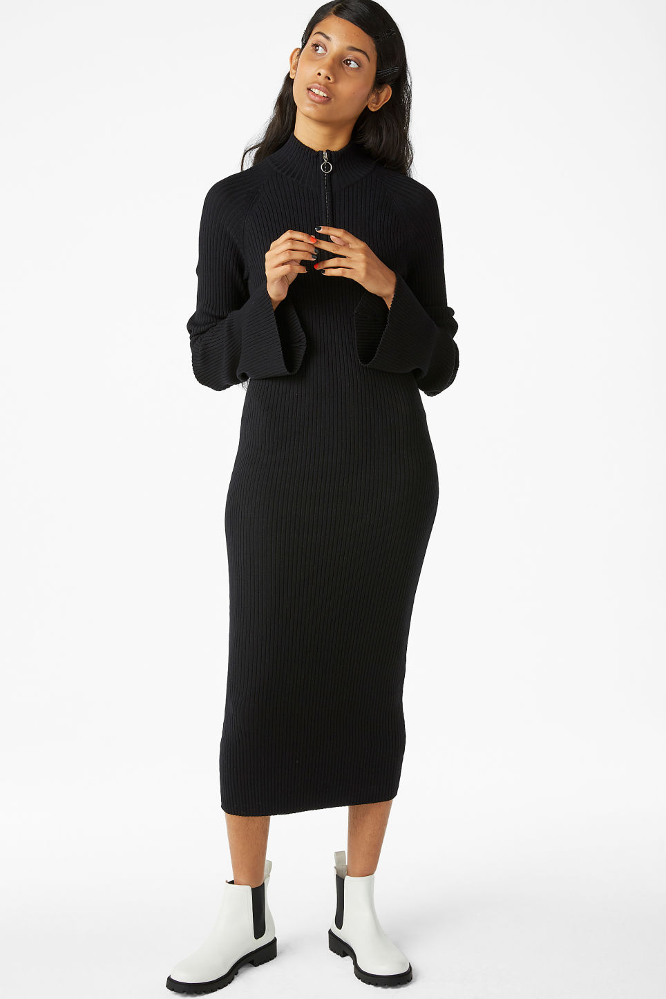 Model front image of Monki ribbed sweater dress in black
