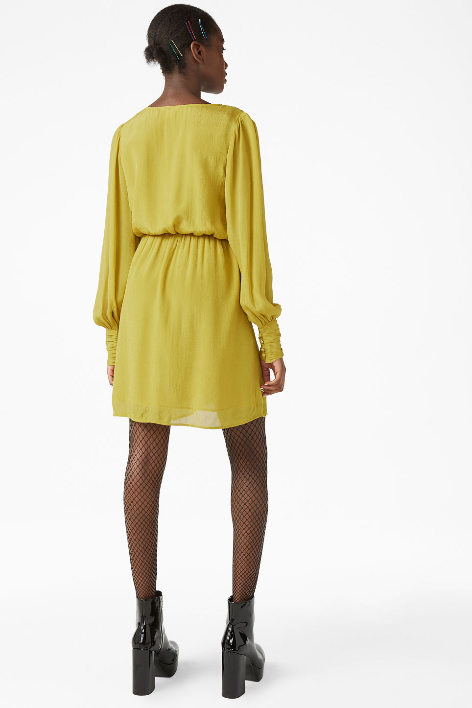 Model back image of Monki gold wrap dress in yellow