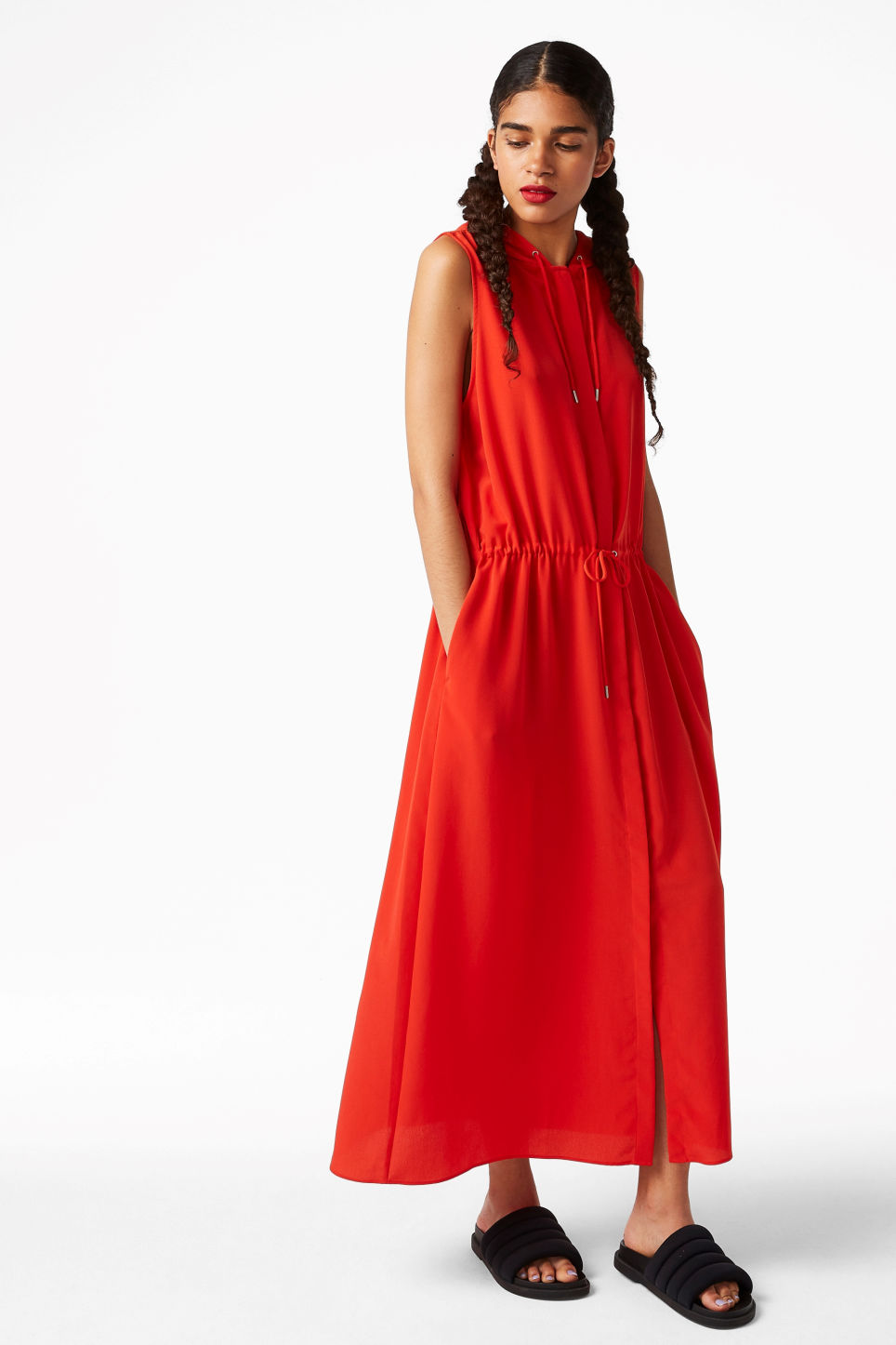 Model front image of Monki long hooded dress in red