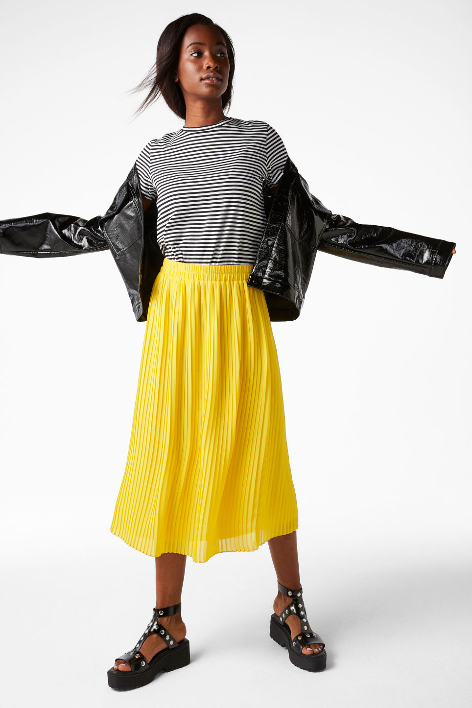 Model front image of Monki pleated midi skirt in yellow