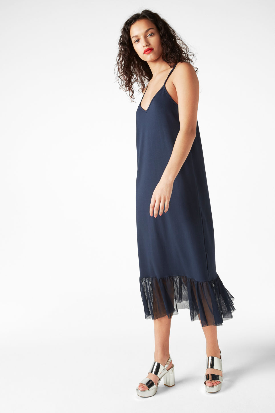 Model front image of Monki spaghetti frill dress in blue