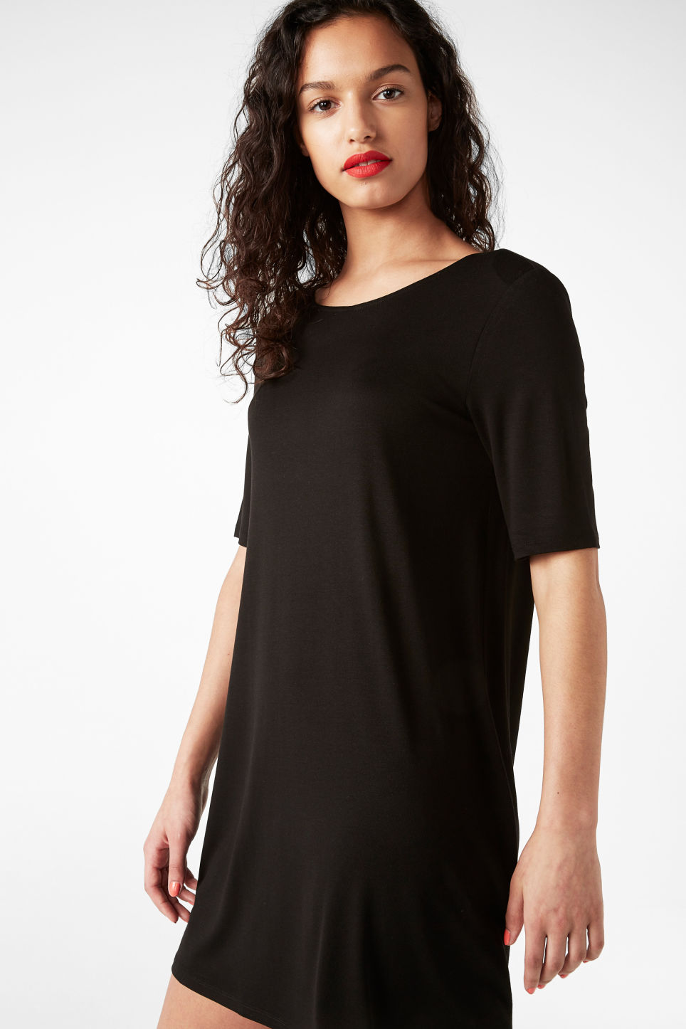 Model front image of Monki scoop neck dress in black