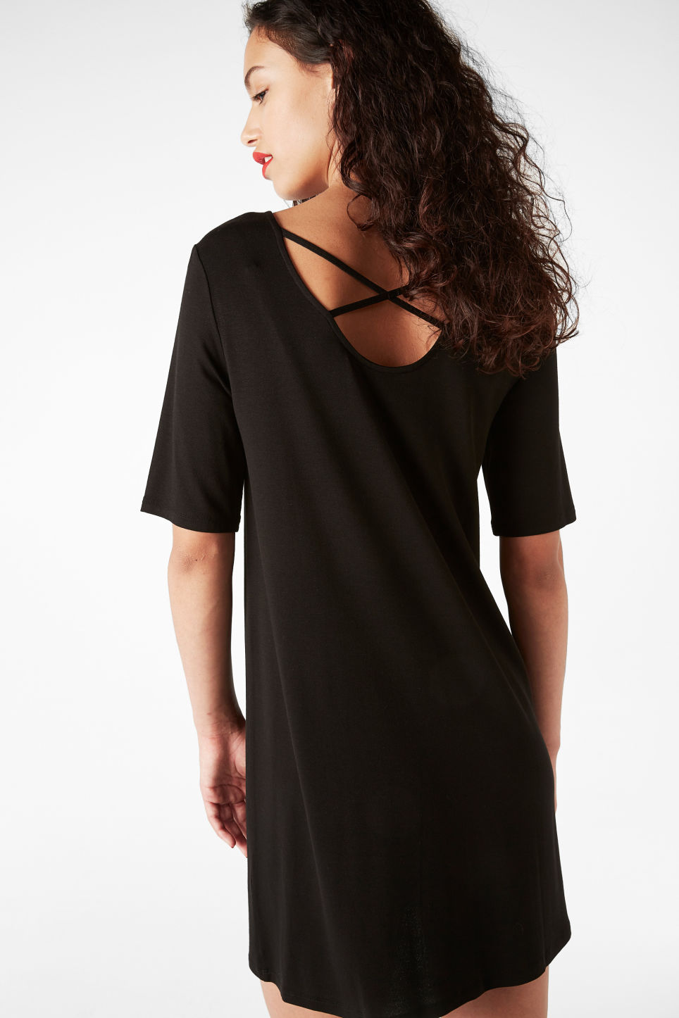 Model back image of Monki scoop neck dress in black