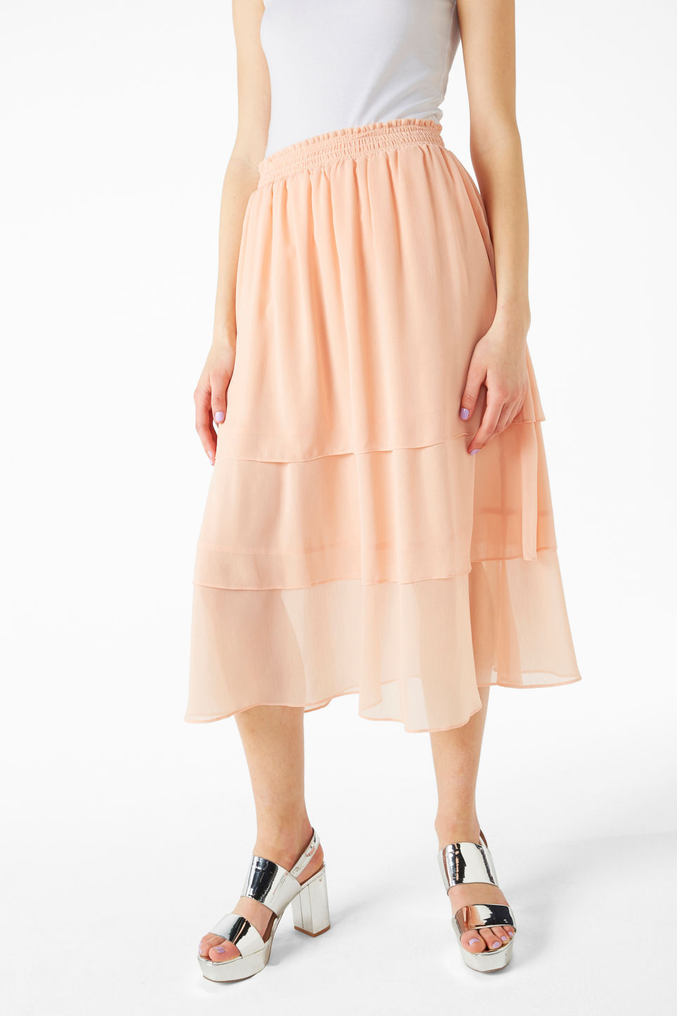 Model front image of Monki ruffle layered midi skirt in pink