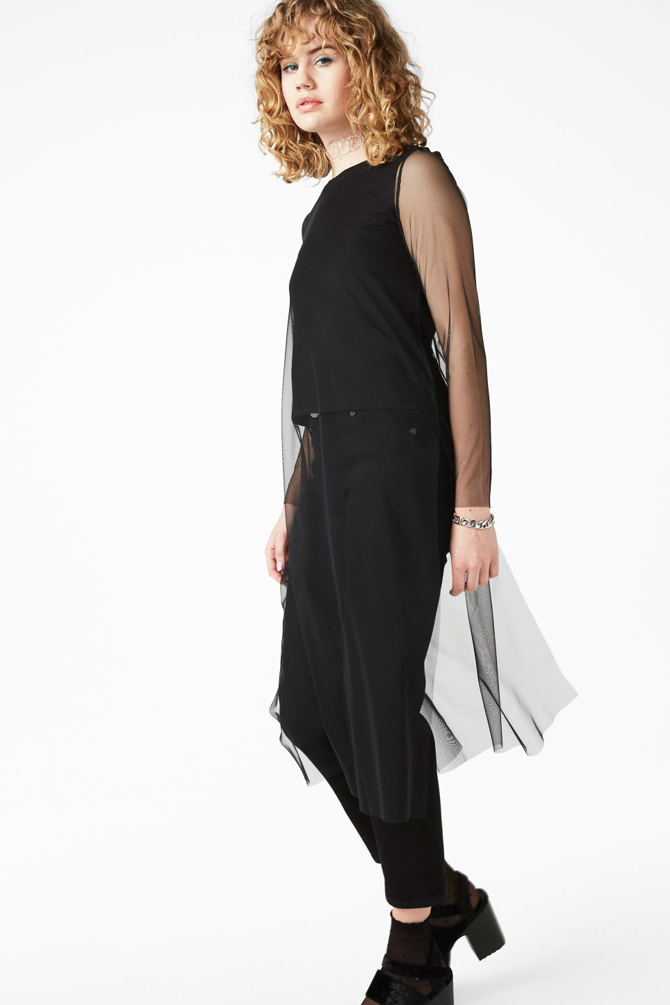 Model front image of Monki half lined mesh top in black