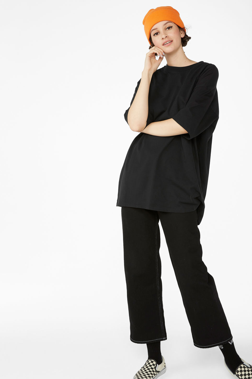 Model front image of Monki oversized tee in black
