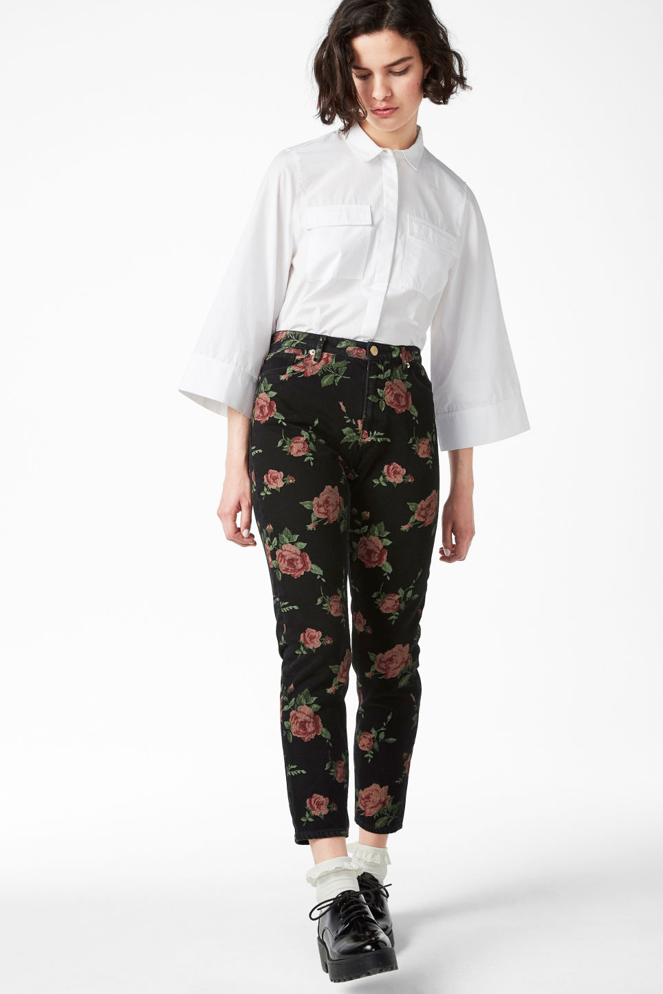 Model front image of Monki kimomo printed flower in black