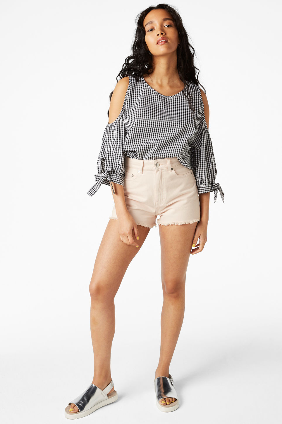 Model front image of Monki high waist denim shorts in orange