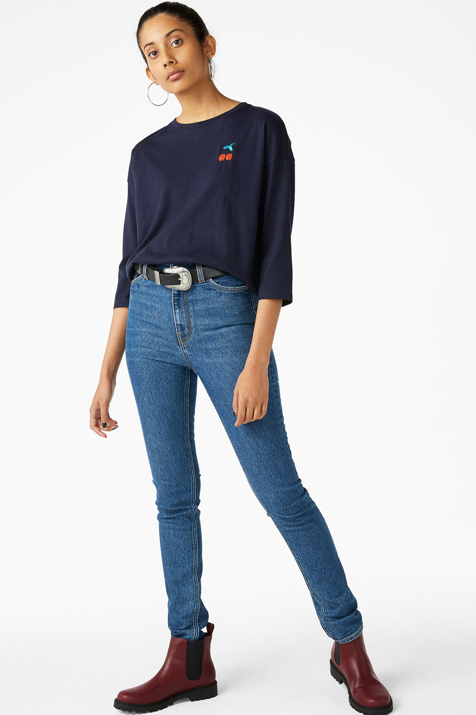 Model front image of Monki long-sleeved tee in blue